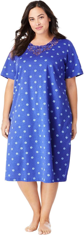 Dreams Co. お気に入り Women's Plus Sleepshirt Size Nightgown Lace-Trim 低価格