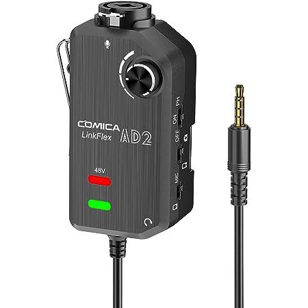 Comica CVM-LINKFLEX.AD2 XLR / 6.35 mmマイクプリアンプ48 Vファンタム電源 リアルタイムモニタ XLR/ギターインタフェースアダプタ iPhone iPad Mac/PC Android DSLRカメラ用