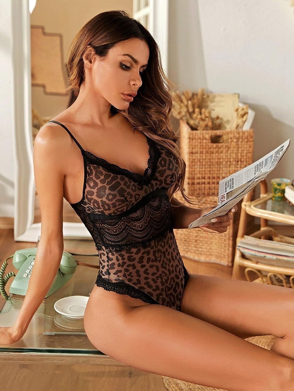 Romwe Womens One Piece Leopard Print Lace Mesh Teddy Lingerie Deep V Bodysuit Sleepwear