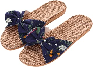 8a3761654 xsby Womens Cozy Indoor Cotton Flax Home Slippers Non-Slip Casual Sandals