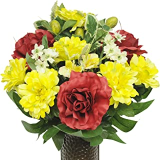 Red Rose and Yellow Dahlias Mix Artificial Bouquet, featuring the Stay-In-The-Vase Design(c) Flower Holder (SM1348)