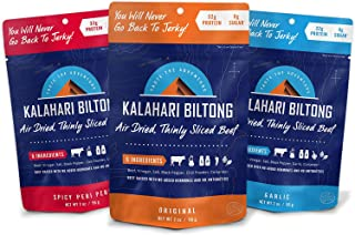 Kalahari Biltong | Air-Dried Thinly Sliced Beef | Variety Pack | 2oz (Pack Of 3) | Sugar Free | Keto & Paleo | Gluten Free | Better Than Jerky