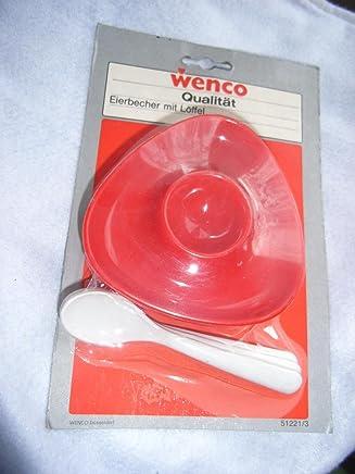 Preisvergleich für 3x Eierbecher mit Löffel Kunststoff / Eierständer Eierbehälter stapelbar Spülmaschinen-geeignet (Becher rot / Löffel weiß)
