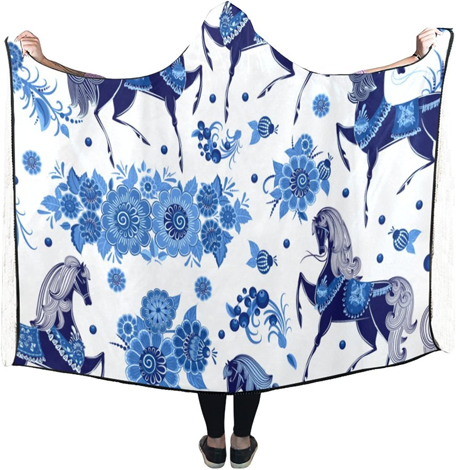 Veronica Rockefeller Indoor Fleece Hooded Blanket, Beautiful Floral Horse Pattern Stylish Wearable Hood blankets 80 x 60 inches