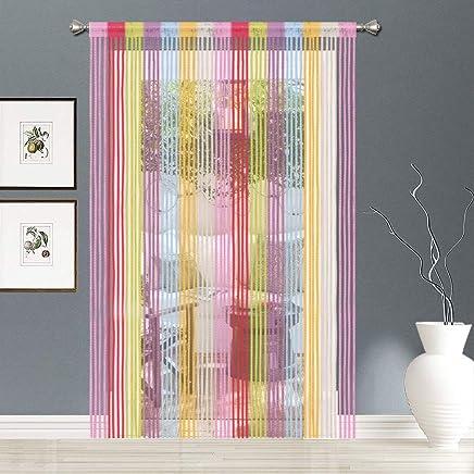 AIZESI 2 Piece Rideau Fil Rideaux Multicolore Pour Chambre,Anti Insecte  Mouche Moustique,Rideaux