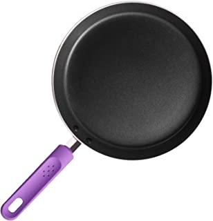 ROCKURWOK Non-Stick Crepe Pan, Flat Pancake Omelette Fry Saute Skillet, 9.5-Inch, Purple