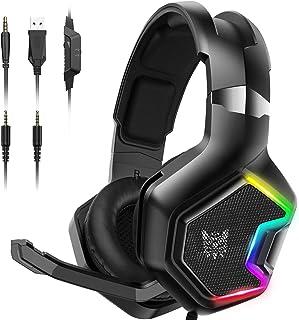 Audífonos Gamer Auriculares PS4 - Auriculares para juegos Xbox One con sonido envolvente 7.1 Auriculares profesionales para juegos con cancelación de ruido con micrófono y luz LED RGB para PS4, Super Nintendo, PC, Xbox One (adaptador no incluido) K10PRO