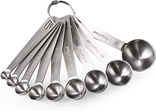 Juego de cucharas medidoras de acero inoxidable con mango largo apilables y resistentes de metal para medir ingredientes l/íquidos secos YellRin