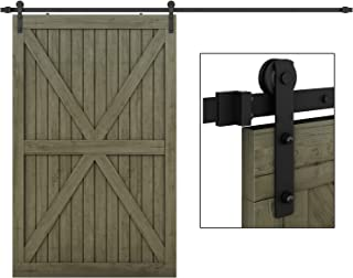 EaseLife 10 FT Heavy Duty Sliding Barn Door Hardware Track Kit,Ultra Hard Sturdy,Slide Smoothly Quietly,Easy Install,Fit up to 60