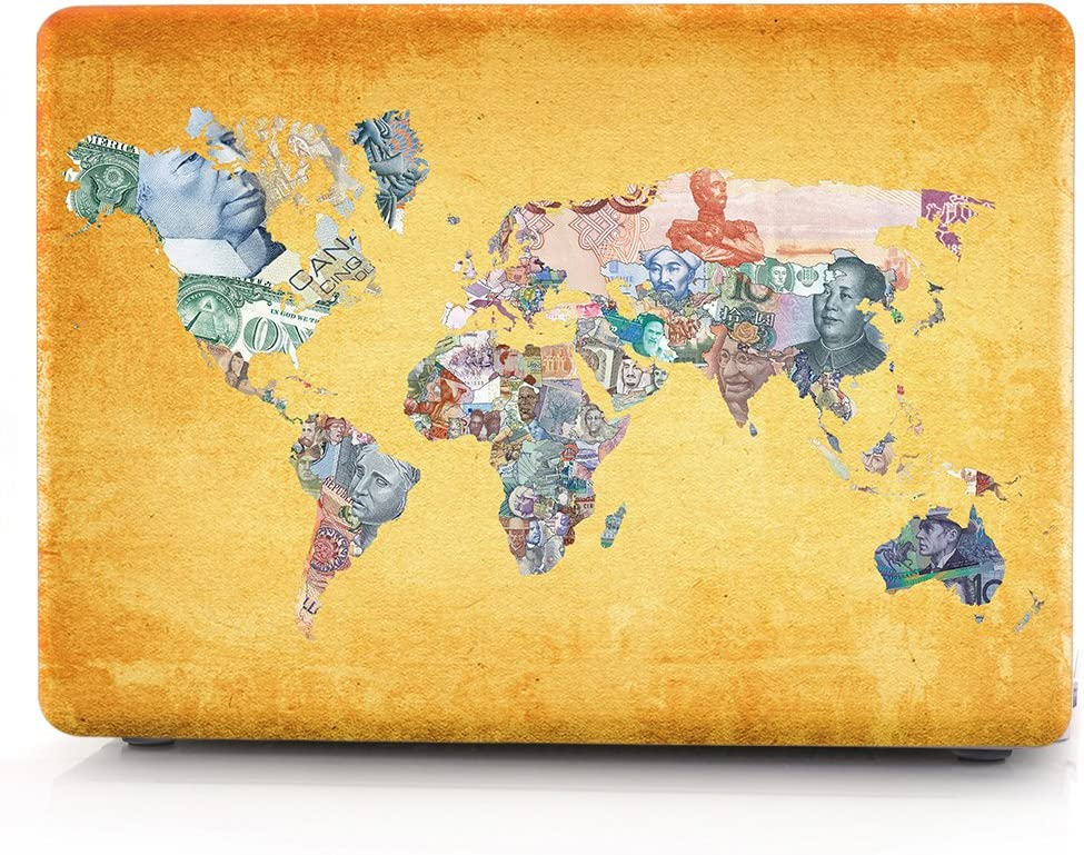 HRH World Banknotes Map Design Virginia Beach Mall Protective Free shipping / New Hard Shell Body Laptop
