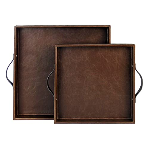 HofferRuffer Set of 2 Square Serving Tray with Handles, Coffee Tray, Wood Structue Butler Tray, Brown, M: 12 x 12 x 1.77 inches, L: 15 x 15 x 1.97 inches