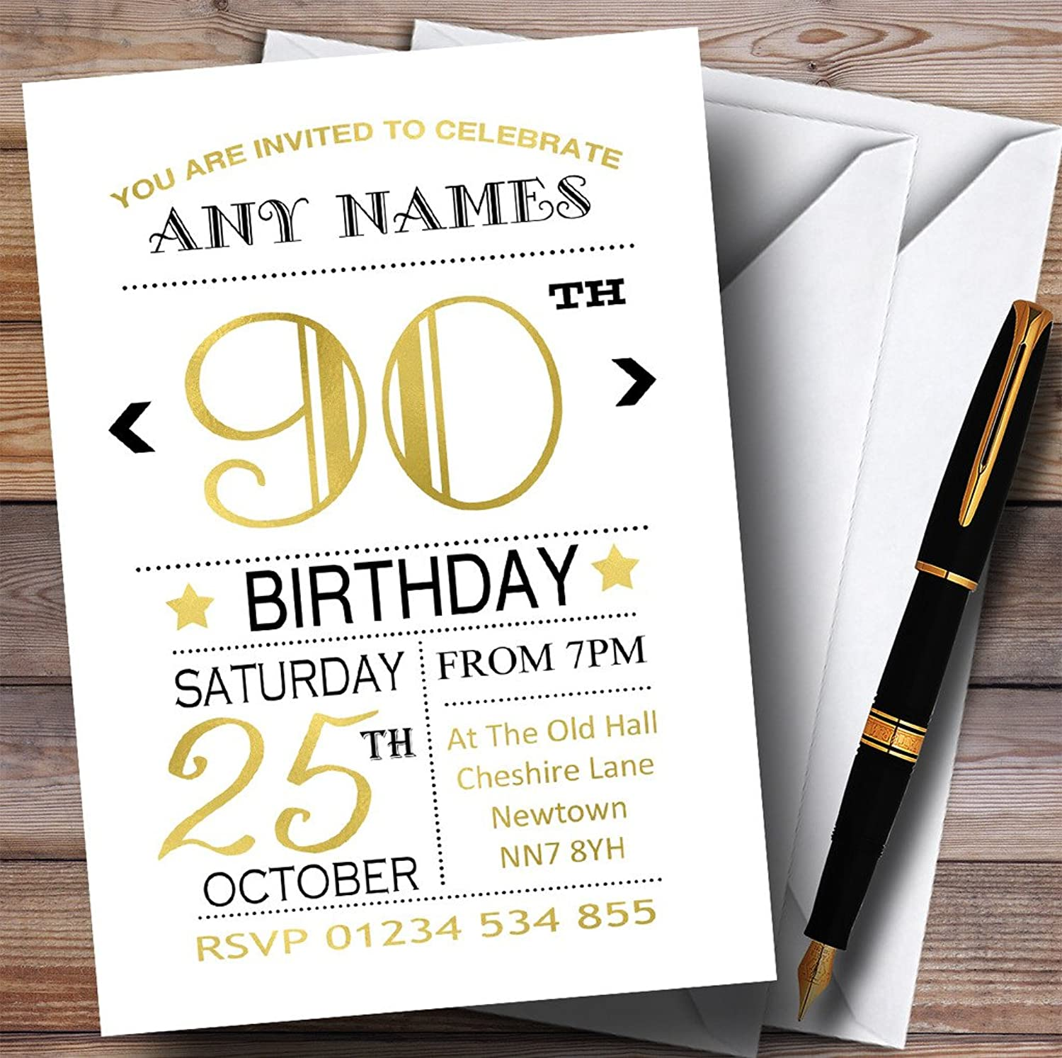 White Black & gold 90th Personalised Birthday Party Invitations