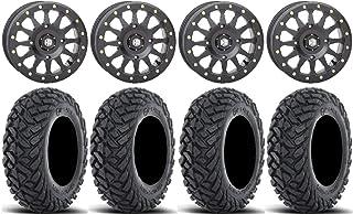 "Bundle - 9 Items: STI HD A1 Beadlock 15"" Wheels Black 30"" Gripper Tires [4x137 Bolt Pattern 10mmx1.25 Lug Kit]"