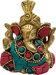 PARIJAT HANDICRAFT Brass Statue of Lord Ganesha Hindu God Made from Solid Brass Metal with Turquoise Gem-Stone