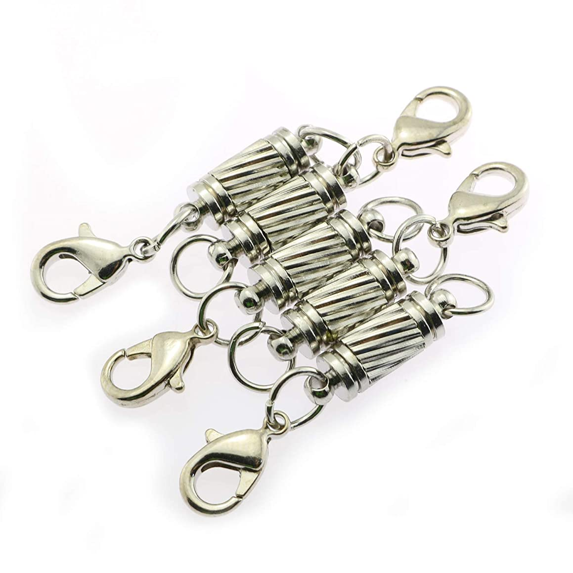 Tegg 5PCS Magnetic Jewelry Clasps with Lobster Claw Clasps for Jewelry Necklace Bracelet DIY Making Silvery
