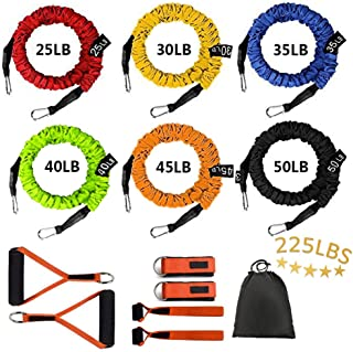 Sunsign Stackable Resistance Band Kit Extreme Workout Total-Body Training Home Gym Best for Beginner Professional