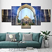 HPPTON 5 Panel Canvas Wall Artd Isa Khan Tomb Temple Delhi India Painting Modular Poster Print for Living Room Home Decor -4x6/8/10inch,With frame