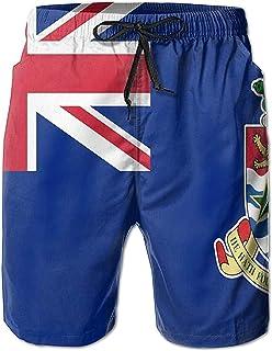 Bandera de Las Islas Caimán Bañador de Secado rápido para Hombre Pantalones Cortos de Playa Pantalones-Blanco-Medio