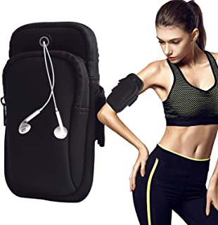 August Sport Running Arm Bag, Outdoors Double Pouch Armband Holder fit All Below 6 Inch Cellphone for Exercise
