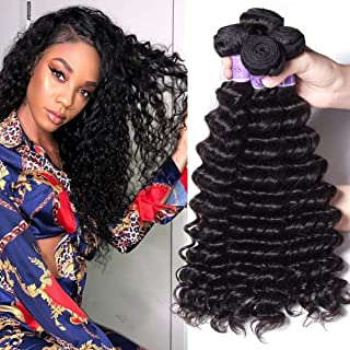 UNice Hair Kysiss Series Brazilian Deep Wave Hair 3 Bundles 100% Unprocessed Virgin Hair Human Hair Weave Extensions Natural Color (12 14 16)
