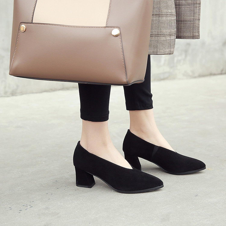 DIDIDD Faule Schuhleder-Schuhfrauen des Frühlingsfrühling-Hohen Absatzes Scheuern Scheuern Raues mit OL-Schuhen,Schwarz 7cm mit,34  praktisch