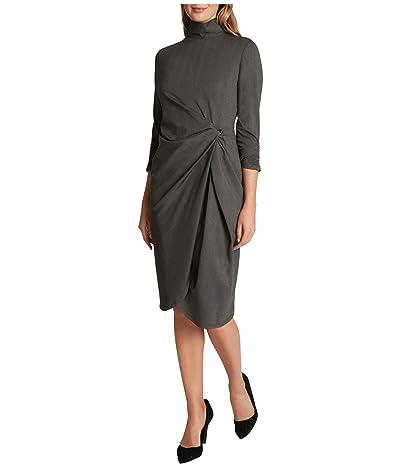 Tahari by ASL Mock Neck Side Knot Stretch Dress (Grey Herring) Women