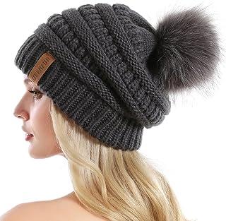8c0fd798190 QUEENFUR Women Knit Slouchy Beanie Chunky Baggy Hat with Faux Fur Pompom  Winter Soft Warm Ski