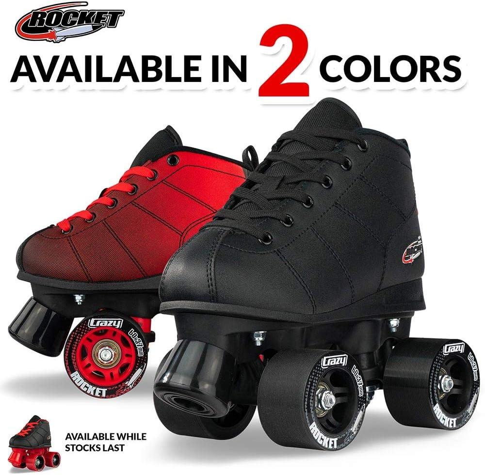 Great Beginner Kids Quad Skates Crazy Skates Rocket Roller Skates for Boys and Girls Black and Red