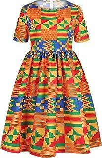 JooMeryer Girls' Ankara Dashiki African Floral Print Summer Short Sleeve Party Dress