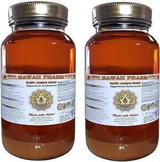 Saint John's Wort Liquid Extract, Organic Saint John's Wort (Hypericum Perforatum) Tincture, Herbal Supplement, Hawaii Pharm, Made in USA, 2x32 fl.oz