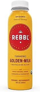 REBBL Super Herb Powered Elixirs | Turmeric Golden-Milk Revitalizing Elixir 12 Pack | 12 Fl Oz | Gluten Free, Organic, Non GMO | 1500mg Turmeric, 1000mg Ginger, 4.7g Coconut MCTs