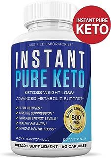 Instant Pure Keto Pills Advanced BHB Boost Ketogenic Supplement Exogenous Ketones Ketosis for Men Women 60 Capsules 1 Bottle