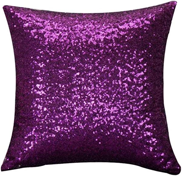 Throw Pillow Covers E Scenery Clearance Sale Solid Glitter Sequins Square Decorative Throw Pillow Cases Cushion Cover For Sofa Bedroom Car Home Decor 16 X 16 Inch Purple