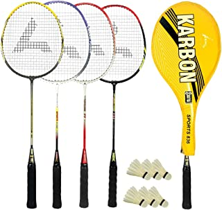 Guru Karbon BR03 COMBO-05 Badminton Racket Set Pack of Four With Four Cover & 6 Shuttlecock Size: 27 inch
