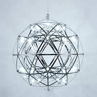 MzithernChandelier GlobePendant HangingLight Decor GeometricCeiling Light Stainless Steel FireworkStarlight 16 inches 6500KCool White for Home Office Kitchen Island Foyer Bedroom Living Room