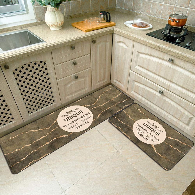 Washable Modern Abstract Strips Kitchen Floor Mats Crystal Velvet Non-Slip Area Rugs Carpets for Bathroom Bedroom Hallway Home Decor,001,1pc40×60cm+1pc40×120cm