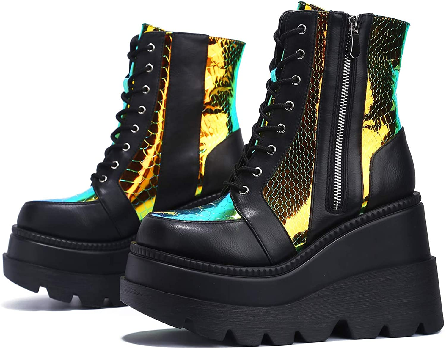   Cape Robbin Radio Holographic Platform Ankle Boots with Chunky Block Heels for Women   Ankle & Bootie