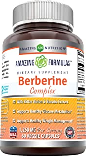 Amazing Formulas Berberine Complex 1250 mg per Serving 60 Veggie Capsules (Non-GMO) - with Bittor Melon & Banaba Extract Supports Healthy Glucose Metabolism and Healthy Weight Management
