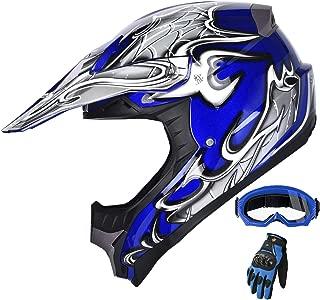 X4 ATV Motocross Dirt Bike Mountain Bike Helmet Off Road MX Helmet Combo With Goggles and Gloves M405 (128 Blue, XL)