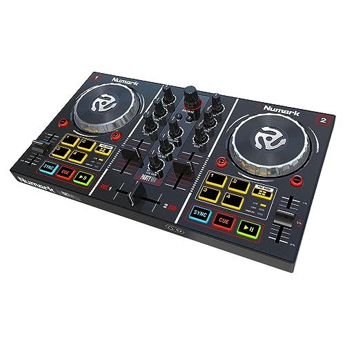 Numark Party Mix - Contrôleur DJ 2 Voies Plug-And-Play pour Serato DJ Intro avec Interface Audio Intégrée et Pré-Écoute au Casque, Commandes de Pads, Crossfader, Jog Wheels et Éclairage Lumineux