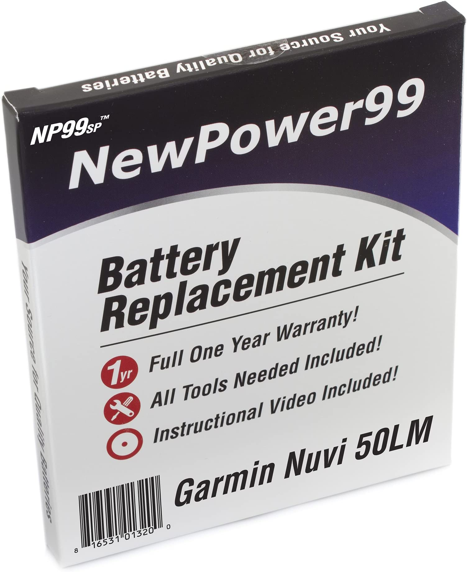 Video Instructions and Extended Life Battery from NewPower99 Battery Kit for Garmin Nuvi 50LM with Tools