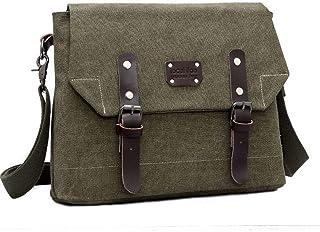 Haibeisi Fashion Unique Fashion Men's Waterproof Single Shoulder Bag Skew Canvas Leather Messenger Bag (Color : Green, Size : L)