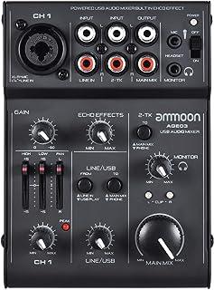 Mesa de Mezcla, ammoon Consola de Mezclador 5 Canales Mini Mic-Line con USB Interfaz de Audio Efecto de Eco Incorporado USB Alimentado para Grabar DJ Network Live Broadcast Karaoke