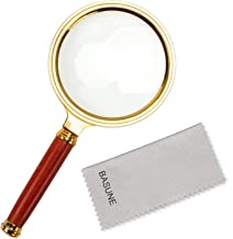 BASUNE 10X Handheld Magnifier, Reading Magnifier Loupe Glasses 10X with Rosewood Handle for Book and Newspaper Reading, Insect and Hobby Observation, Classroom Science (Metal Frame)
