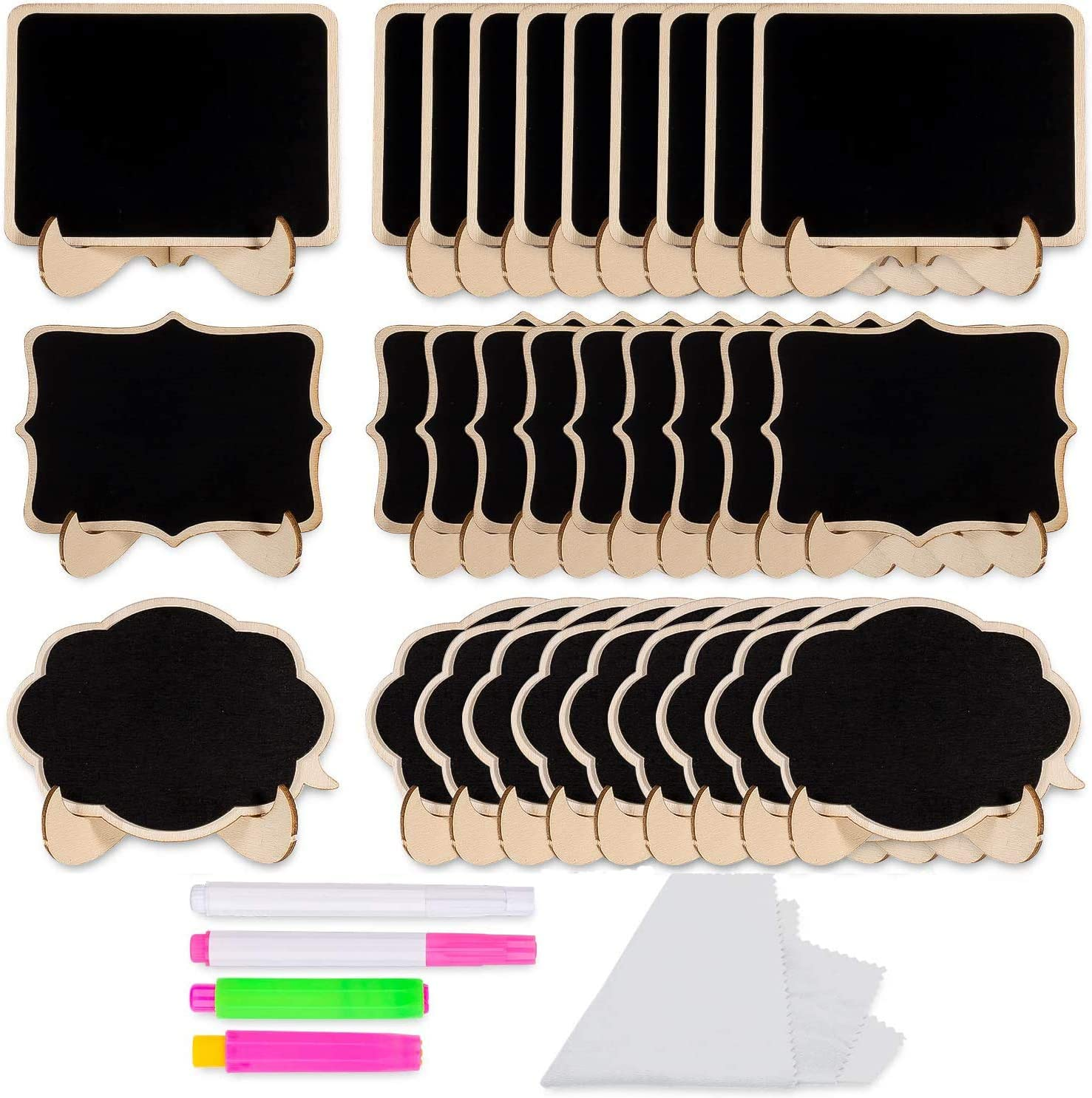 Whaline Las Vegas Mall Mini Chalkboards with Stand 30 Small Rectangle Luxury goods Pack Bla