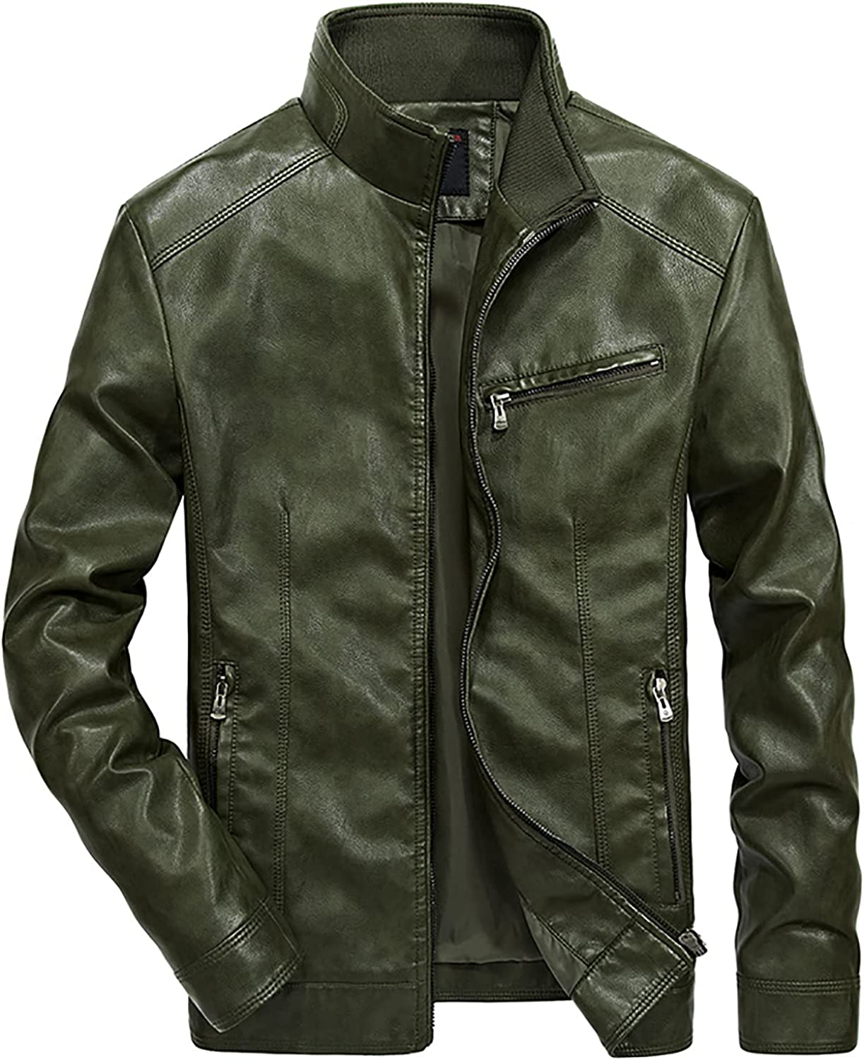 Men's Vintage Stand Collar Pu Leather Jacket Tactical Outerwear Full-Zip Slim Leather Jacket for Men