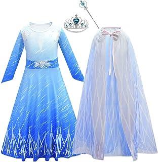Debispax Girls Elsa Princess Dress Up Cosplay Snow Party Queen Halloween Costume