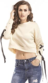 Arctic Cubic Sexy Long Sleeve Thick Warm Eyelet Lace Up Tie Sleeve Cotton Sweatshirt T-Shirt Tee Cropped Crop Top
