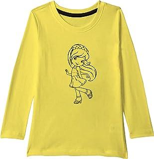 American-Elm White Cotton Full Sleeves Black Cute Doll Printed T-Shirt for Girls | Kids Printed Full t-Shirt for Girls