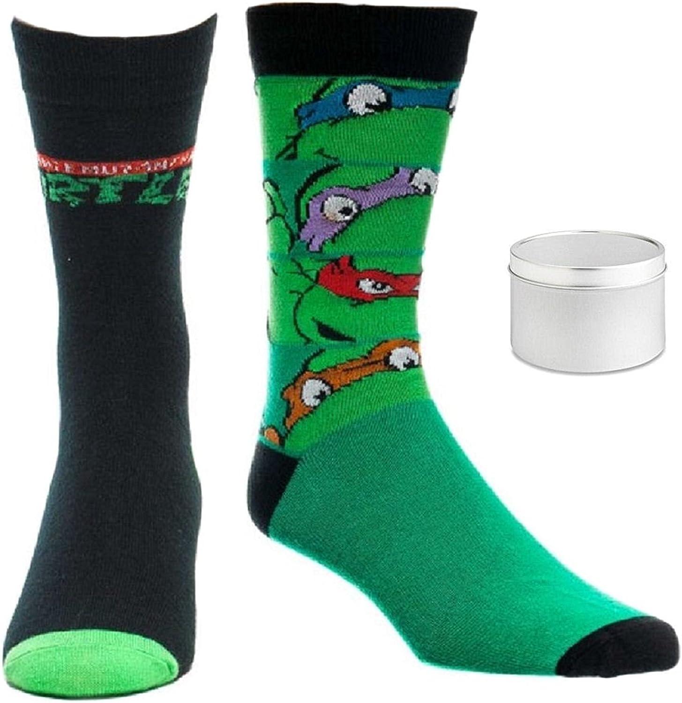 Teenage Mutant Ninja Turtles Mens' Crew Socks 2 Pair & Tin - 3 Piece Gift Set
